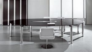 ישיבות זכוכית  דגם MUST 5 - שולחנות משרדיים שולחן משרדי